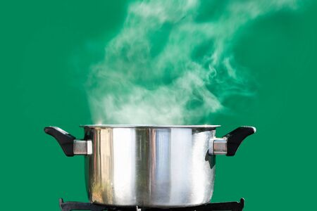 steam over cooking pot ,on green screen