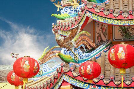 chinese phoenix: Chinese phoenix on temple roof Stock Photo