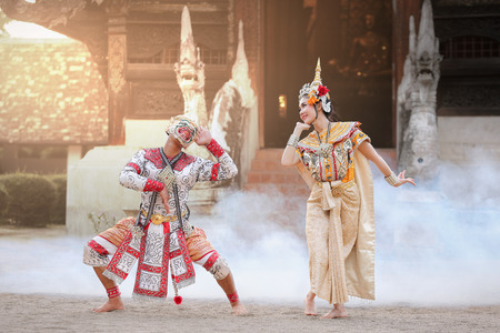 Hanuman and Suvannamaccha in mask dance Ramayana drama