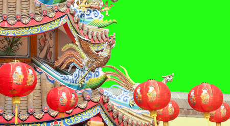 Chinese New Year Lanterns at teple. green screen background.