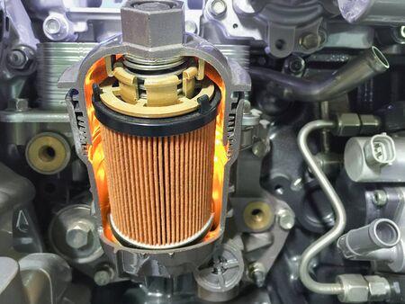 sección transversal del filtro de aceite del motor, visualizar materiales en el interior. Foto de archivo