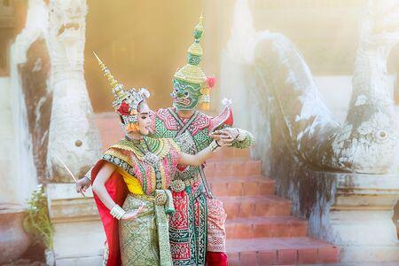 queen's theatre: Tosakan (Ravana) and Mandodari , Thai classical mask dance of the Ramayana Epic