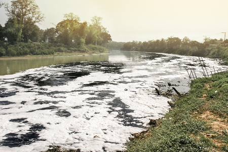 harmless: Water pollution in river , industrial not treat sewage before drain