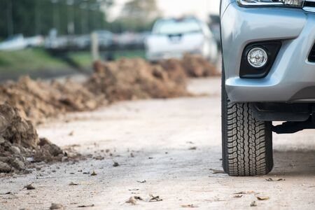 4x4 SUV car on dirt road
