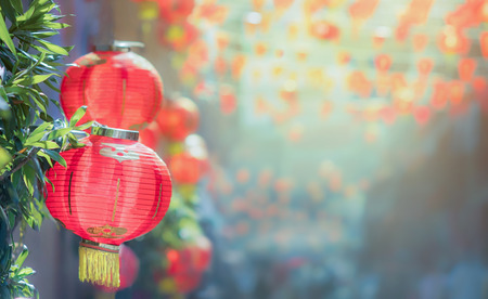 Chinese new year lanterns in chinatown Stockfoto