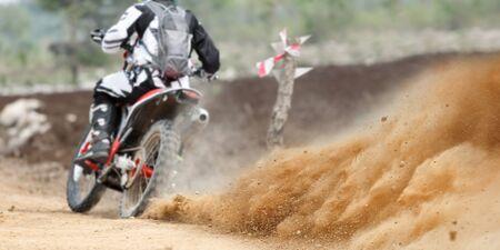 Dust splash from enduro motorcycle
