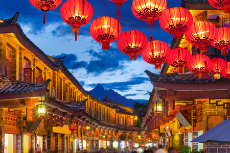 Lijiang old town in the evening with crowed tourist.