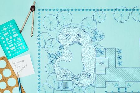 Blueprint Landscape architect design backyard plan for villa