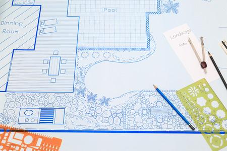 Blueprint Backyard Garden And Pool Design Plan For Villa Stock Adorable Backyard Plans Designs Plans