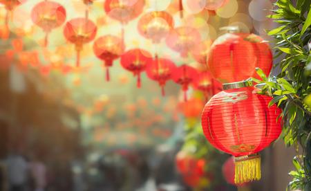 중국 타운에서 중국 새 해 제등입니다. 스톡 콘텐츠