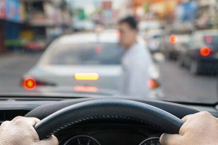car emergency brake saved a life pesdestrian runs across street.