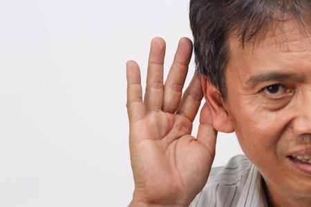 Senior man hearing loss , Hard of hearing Stock Photo