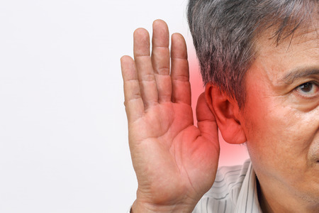 Senior man hearing loss, hard of hearing 스톡 콘텐츠