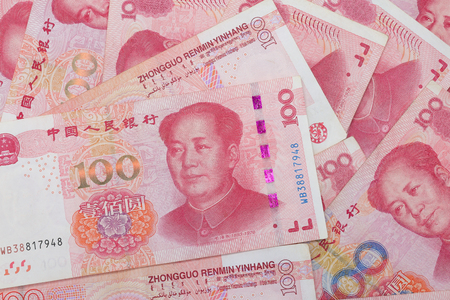 Chinese 100 RMB, Yuan banknotes from China's currency. 版權商用圖片 - 109993202