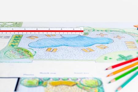 Landscape architect design backyard pool plan for resort