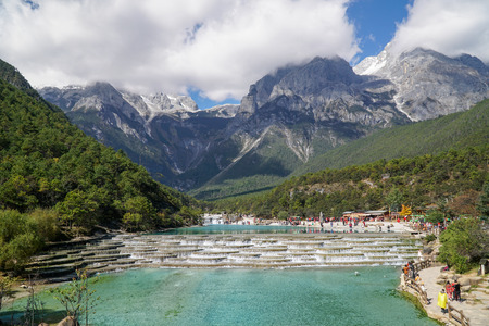 White Water River or Baishui River And Jade Dragon Snow Mountain ,Lijiang ,Yunnan ,China.  Time lapse