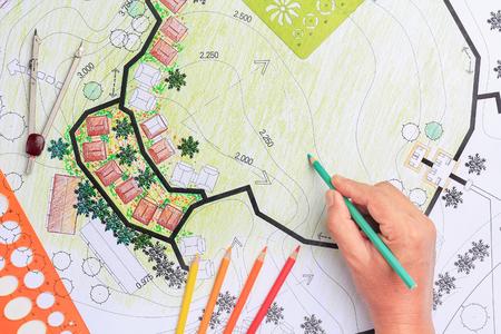 Landscape architecture design garden plan for housing development Reklamní fotografie