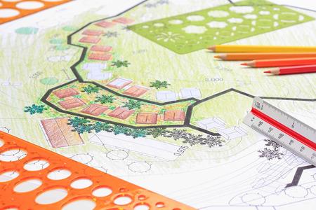 Diseño de arquitectura paisajista plan de jardín para el desarrollo de viviendas.