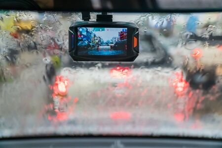 car video recorder in rainy day and traffic jam