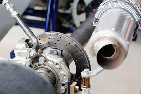 Go kart disc brakes in service station