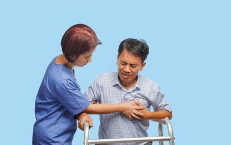 Caregiver take care  patient man, heart disease. Imagens