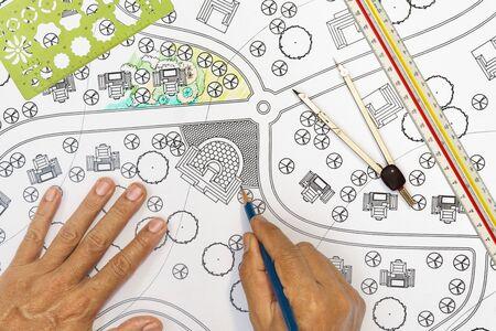 Landscape architect design plan for housing estate