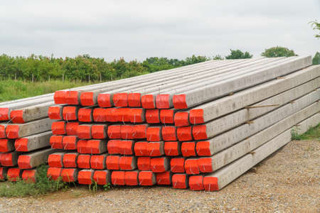 Stack of electrical concrete poles