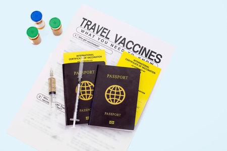 Get international certificate of the vaccination before travel Foto de archivo