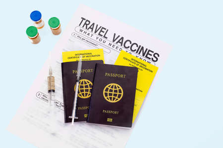 Get international certificate of the vaccination before travel Stock Photo
