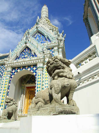 Golden demon statue temple decoration at Wat prakaew, Bangkok, Thailand  photo