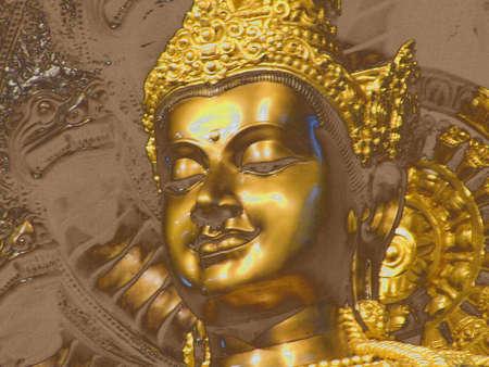 Buddha in Thailand Bangkok Wat pratoum Stock Photo
