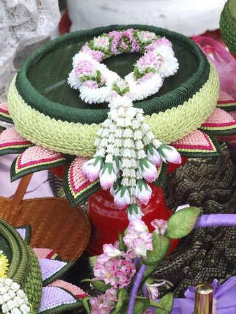 Jasmine garland , the art of a Thai , in the Songkran Bangkok Thailand
