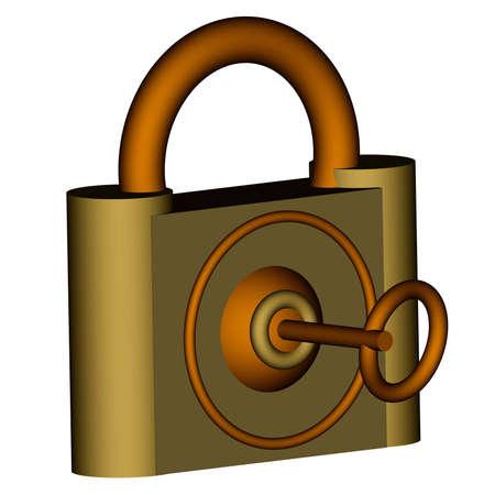3d padlock with key  photo