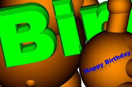 3d robot Happy Birthday