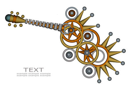 3d Abstract Guitar design on white background
