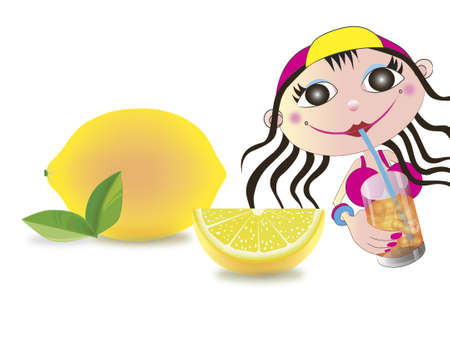 A child  drinking the  lemon water