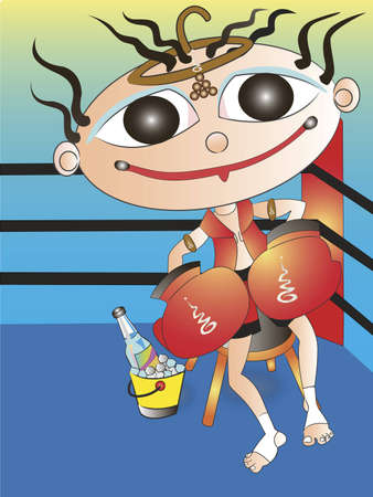 Thai boxing is cartoon photo
