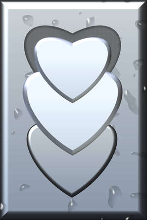 Metal heart space for text