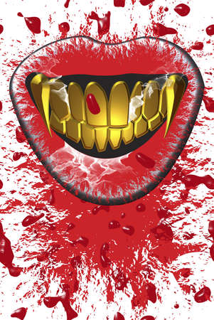 sucks: A vampire mouth sucks blood
