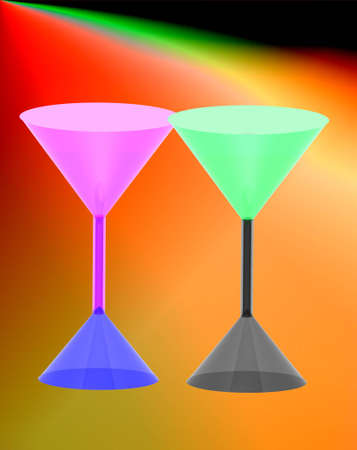 3d red wine glass on  colorful background.