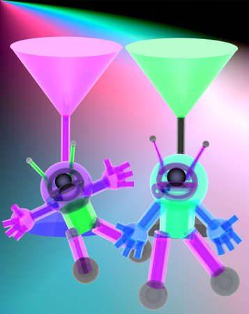 3d Robot and red wine glass on  colorful background.