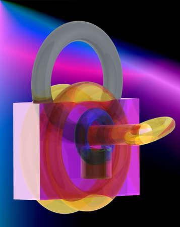 3d padlock with key