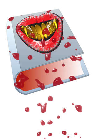 a set of vampire teeth and blood on a book, isolated on white Stock Photo