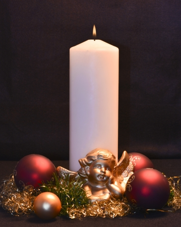 scented candle: Christmas arrangement with angel