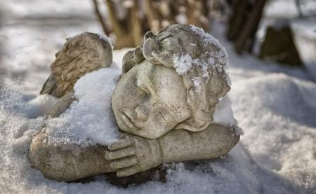christmas religious: Resting Snow Angels   Stock Photo