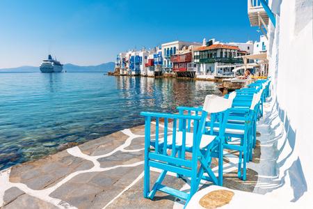 Little Venice on Mykonos Island, Cyclades, Greece