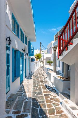 Narrow lane in Mykonos old town, Cyclades, Greece