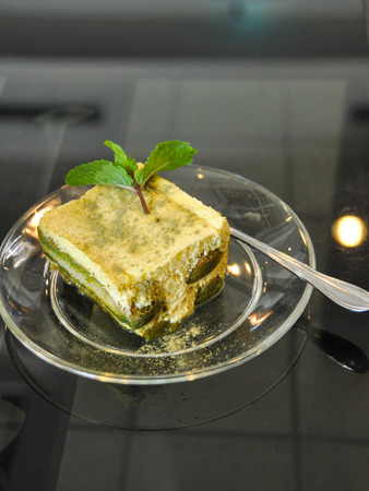 tera: Tera Mitsu Green Tea Cake on the disc Stock Photo