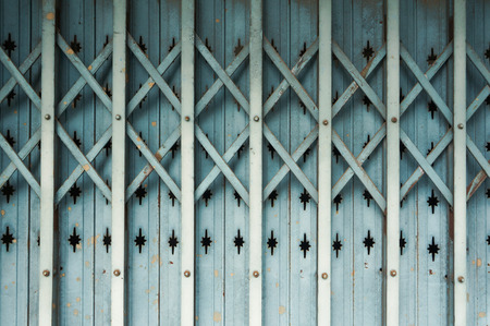 rustiness: Old Aluminium Folding Door Close up