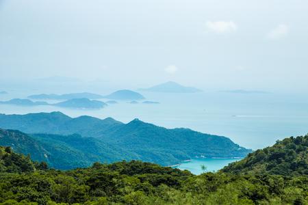 lantau: Sea and mountain view from Tian Tan Buddha Ngong Ping , Lantau Island, Hong Kong Stock Photo